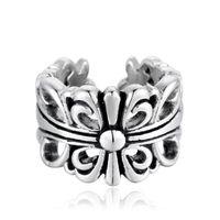 العلامة التجارية الجديدة 925 فضة نمط خمر الأمريكية الأوروبية مجوهرات المصمم يدوية المصمم الصلبان خواتم مفتوحة للتعديل للرجال هدايا النساء