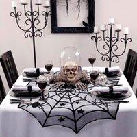 Cadılar bayramı partisi siyah dantel örümcek web masa örtüsü 100 cm masa kapakları pencere asılı korku cadılar bayramı partisi dekorasyon