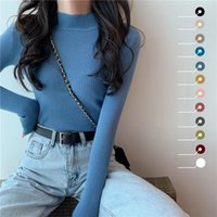 النساء البلوزات الخريف الشتاء الياقة المدورة طويلة الأكمام تمتد الأزرق محبوك البلوفرات الأزياء فام لينة رقيقة البلوز قمم 10 ألوان