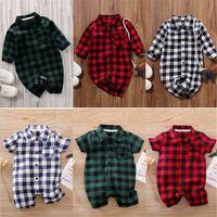 Весна осень детские мальчики девочки клетки Rompers мода футболки малыш с длинным рукавом комбинезон младенческие ныряющие дети одна куска одежда G20106