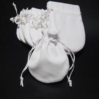 أكياس الحقائب المجوهرات المخملية البيضاء ل باندورا 925 فضة سحر الخرزة سوار قلادة الأزياء