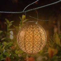 gros lumière solaire Contrôle automatique induction décoration de jardin Lampe d'extérieur étanche Jardin Rétro fer Lampe blanc chaud Panneau solaire