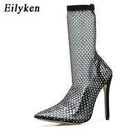 حار بيع Eilyken تصميم جديد الكريستال حجر الراين شبكة سترتش سوك أحذية الموضة PVC الشفاف أحذية الكعوب المدببة تو مثير العليا