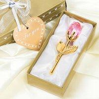 Cadeaux de mariage romantique Cristal multicolore Rose de rose avec boîte colorée Boite Favors Baby Douche Souvenirs Ornements pour invité GGB3644