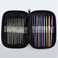 22 шт. Разноцветные алюминиевые крючки крючков вязание и иглы набор тканевых ремесло с сумкой