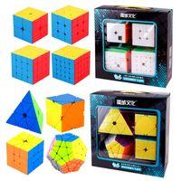 Speed Cube Bundle Moyu Mofang Jiaoshi Meilong MF2S 2x2 MF3S 3x3 MF4S 4x4 MF5S 5x5 Stickerless Magic Cube 234 Conjunto con caja de regalo 201219