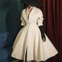 Le Palais Vintage Original Herbst Vintage Sammeln Taille Beige Dicke Wollmantel Solide Streetwear V-Ausschnitt Casual Fashion Coats 201223