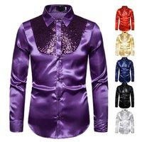 Lantejoulas de camisas de vestido masculinas mostram nightclub host emcee lapel de mangas compridas camisa vintage botão para baixo para homens roupas smoking