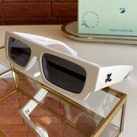Mode classique rectangulaire 40008 Verres 8,0 mm Plaque en polycarbonate Notched cadre lunettes de soleil pour hommes et femmes lunettes de soleil blanches