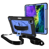 Estuche de plástico de la tableta de pienso protectora de plástico de silicona con correa larga para iPad Pro 11 2021 10.2 9.7 Air 4 Mini 5 3