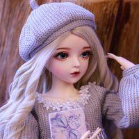 BJD boneca 60 cm presentes para menina boneca de cabelo prata com roupas mudam olhos nemee boneca melhor dia dos namorados presente artesanal beleza brinquedo y1130
