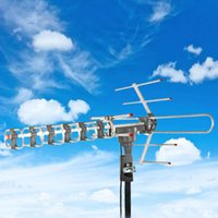 Outdoor Amplified HD TV Antenne Digital Signal High Gain 22-38DB UHF / UKW / FM 360 ° E Offene Antenne Silber US-Bestand