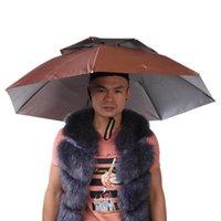 2 Katmanlı Taşınabilir Katlanır Şapka Rüzgar geçirmez Şapkalar Şemsiye Kap Eller Ücretsiz Yağmur Dişli Açık Balıkçılık Kamp Yürüyüş Için