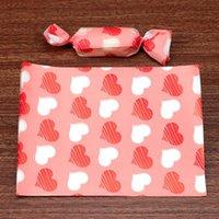 500pcs / lote vermelho branco amor coração decoração casamento festa de casamento nougat embrulhar papel batismo açúcar embalagem doces presente cor-de-rosa torcendo papel de cera