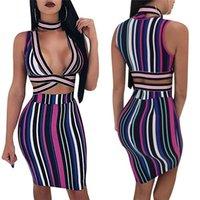 섹시한 스트라이프 두 조각 드레스 여성 깊은 V 목 고삐 민소매 보디 콘 드레스 hollow out 유명 인사 클럽 착용 드레스 Vestidos
