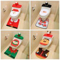 3шт рождественские туалетные сиденья чехол Санта-Клаус ванная комната коврик Xmas Decorn Ванная комната Санта-сиденье туалет коврик украшения дома 2020