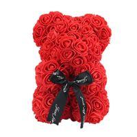 Décoration de fleurs décoratives VKTECH Saint-Valentin cadeau 23cm Rose Rose Bear Teddy Fleur Décoration artificielle pour Noël Valentine's Birt