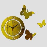 Geometrische Uhr Neue Förderung Echt Rushed Spiegel Wanduhr Quarz Acryl Pastoral DIY Uhr Uhren