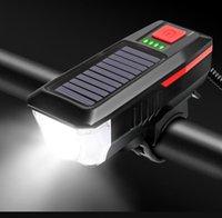 متعددة الوظائف أضواء الطاقة الشمسية مع جرس قرون الصمام دراجة رئيس مصباح أضواء usb القابلة لإعادة الشحن للماء T6 أضواء 3 وضع تحذير ضوء