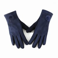 Fünf Fingerhandschuhe Winter Damen Wildleder Touchscreen Warme Handschuhe, Mode Pelzkugeldekoration Winddicht Reiten B751