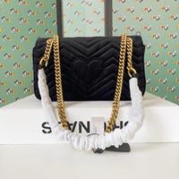 Женщины Luxurys Конструкторы Сумки Классический Флип Velvet Marmont ватные сумки на ремне, Золотая цепь Crossbody Сумка из натуральной кожи Сумка Кошелек