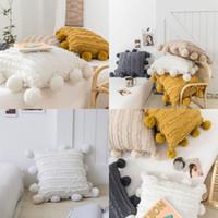 Coussin d'oreiller à glands floral de siège avec pompom jaune gris blanc coussin de coussin décoratif house décor à la maison coiffe d'oreiller 45x45cm lls 67 g2