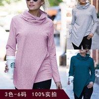 3colour S-3XL 여성 유행 섹시한 긴 소매 스웨터 여성의 하이넥 불규칙한 바닥 셔츠 탑스 풀오버 슬림 26600625978144