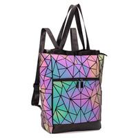 realer المرأة حقيبة مدرسية للمراهقات الفتيات المراهقات مضيئة هندسية حقيبة كتف حقائب كبيرة لسفر الإناث
