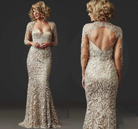 2021 Custom Made Vintage Full Lace Mermaid Prom Dresses Long...