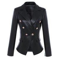Hohe Qualität Neue Designer Frauen Leder Blazer Lion Head Button Zweireiher Anzug Jacke Weibliche Slim Office Business Blazer Mantel A289