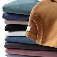 Men's Sweaters 2021 Autumn Winter Sweater Solid Color Slim Casual Men O-neck Pullover Brand Quality Knitted