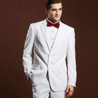 Custom Made White Slim Fit Wedding Men Suits 2020 Groom Tuxedos 2 Pieces (Jacket+Pants) Bridegroom Set Best Man Blazer Prom Wear