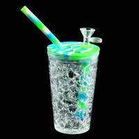 6.1 '' Tubos de agua Bongs de silicona DAB Rig Glass Oil Oil Herb Bubbler Silicone Bong Hookah 157mm * 68mm