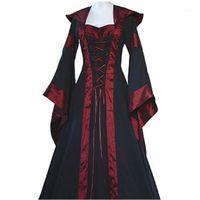 Partykleider Autumnspring Frauen Retro Vintage Langarm Mittelalterliche Renaissance Viktorianische A-Linie Y61