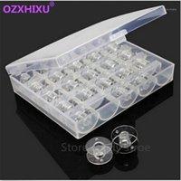 1set / lote plástico transparente 25 bobinas bobinas Máquina de costura spools com caixa de armazenamento de rosca para casa acessórios de costura ferramentas1