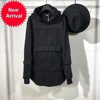 Оуэн Seak мужская хлопковая толстовка толстовки готическая одежда негабарита осенью зима высокая улица хип-хоп черная zip куртка