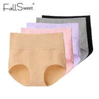 FALLSWEET 5 PCS / PACK! Mutandine delle donne in vita alta mutandine per il controllo della pancia di controllo della panny di cotone dimagrante Plus Size 201124