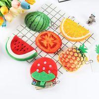 10 قطع أفخم عملة محفظة الإناث الكرتون سماعة حقيبة لطيف 3d مصغرة الفاكهة والخضروات الإبداعية المحمولة حقيبة كيس
