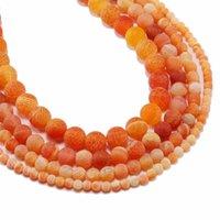 1 الرطاط 4 6 8 10 10 12 ملليمتر البرتقالي الحجر الطبيعي الصقيع السلطعون العوضة جولة فاصل حبة للمجوهرات صنع diy القلائد h bbytca