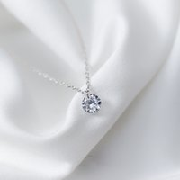 jewellry factory China 925 sterling silver necklace small order high quality charm round design cubic zirconia necklaces trendy fashion jewelry 2021 wholesale