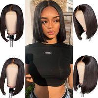Ishow Cheveux Droite Nouveau 2 * 6 Swiss Dentelle Perruque Court Bob Perruque Straight Human Hair Perruques Brésilien Vierge Human Hair Dentelle Perruques avant