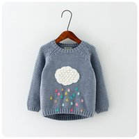 Novos desenhos animados de inverno bebê meninos e meninas camisola nuvem chuva de chuva crianças roupas camisola de crianças camisola quente manga longa para meninas knitwear1