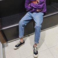 Männer Jeans Großhandel 2021 Kinder geradebeinige funky Wide-Beinhose Lose Retrostil Koreanische Studenten Dünne Knöchellänge Männer