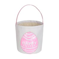Osterhase Korb Eierbeutel Leinwand Baumwolle personalisierte Süßigkeit Ei Korb Pailletten Patch Kaninchen Druck Eimer für Kinder
