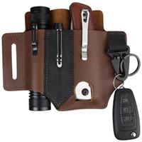 2021 HW06 Mode Outdoor EDC Taktische Stift Fanny Pack Rindsleder Multifunktionale Taschenlampe Hülse Messerhülse Tragbare EDC Werkzeug Leder