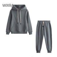 Wixra Winter New Mujeres de gran tamaño Sudaderas de gran tamaño 100% algodón pesado Básico Unisex Unisex Trajes para hombres Set de vellón cálido 201113