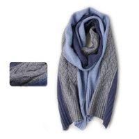 Nuova sciarpa cashmere con splicing a 3 colori e tessuto caldo con la sciarpa di scialle delle donne di colore sfumato per gli uomini