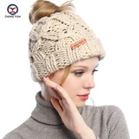 Mütze / Schädelkappen Chingyun Damen Strickmütze Baumwolle Mütze Weiche Winter Warme Hohe Qualität Feste Farbe Frauen Haarband Leeres Top