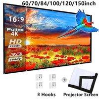 طوي 16: 9 العارض 60 70 84 100 120 بوصة الأبيض شاشة الإسقاط شاشة العرض الرئيسية شاشة العرض 1