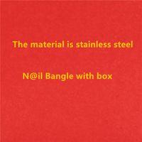 Kostenloser Versand Top Qualität Marke Nagel Armbangles mit Steingold Manschette Armbänder Edelstahl Armreifen Schmuck YX022